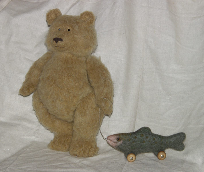 stuffed bear & salmon