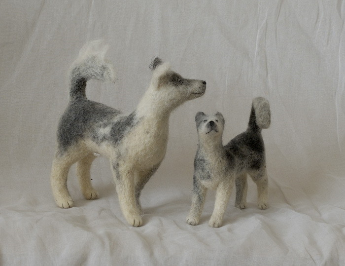 two needle-felted dogs (2)