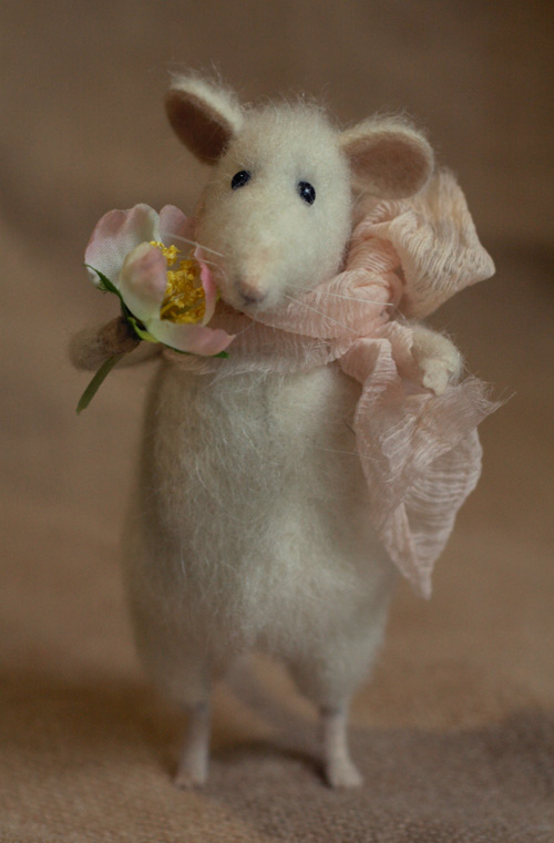 mouse with a rose