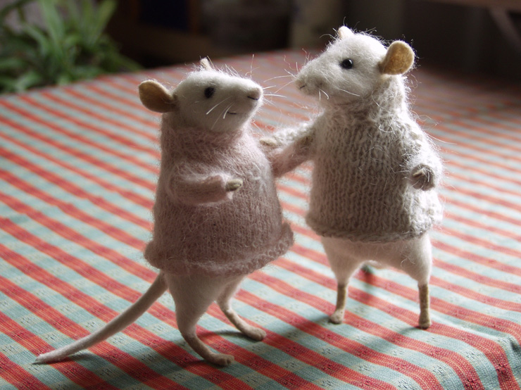 mice in sweaters
