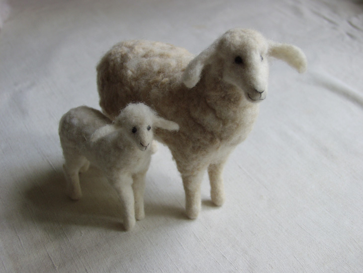 needle-felted sheep and lamb