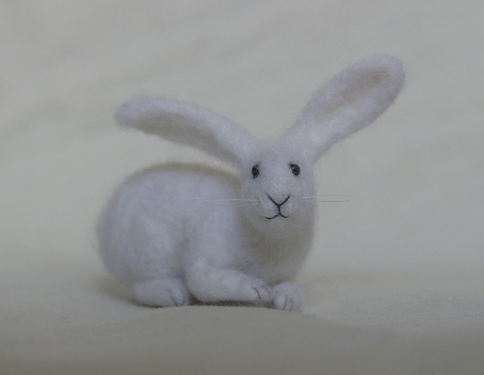 miniature needle felted rabbit