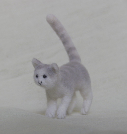 miniature needle felted cat