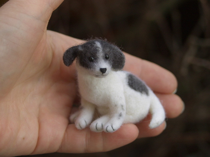 miniature needle felted dog