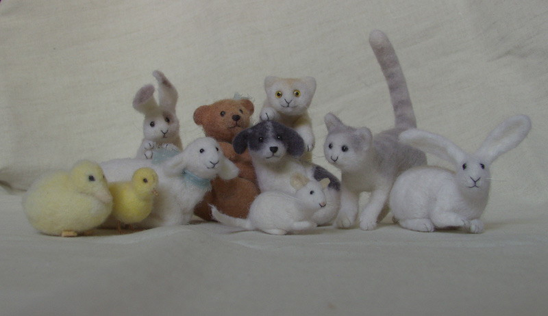 miniature needle-felted animals group