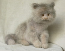 stuffed grey cat