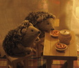 """hedgehogs drinking tea"" stuffed animals"
