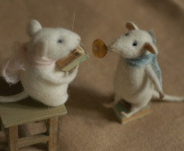 miniature mice reading