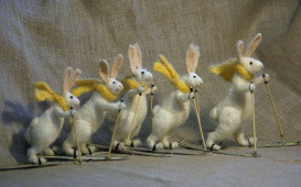 """skiing rabbits"" stuffed animals"
