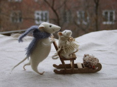 winter walk - stuffed mice with sledge