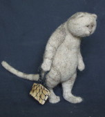 """learned cat"" needle felted toy"
